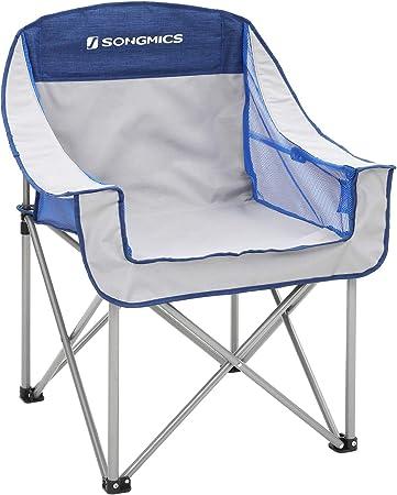 con Asiento Amplio y Confortable Silla para Exterior Capacidad de Carga 250 Kg SONGMICS Silla de Camping Plegable Resistente MAX