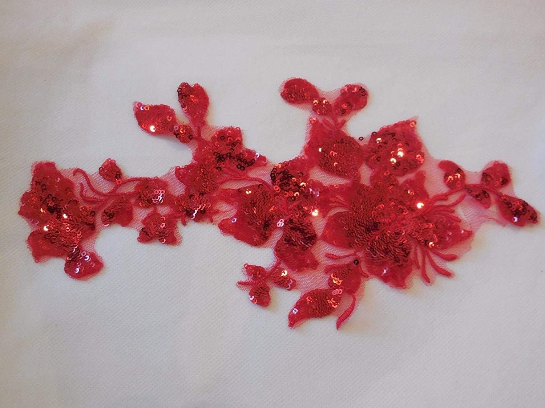 Rosa Craftuneed Pailletten-Spitzenapplikation in Rot elfenbeinfarben Schwarz Pailletten around 28cm x 14cm 28 cm x 14 cm Blau oder Elfenbeinfarben