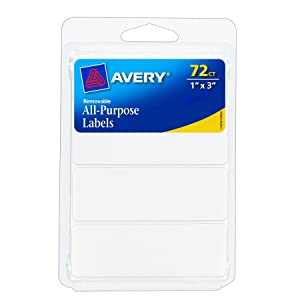 Avery Removable Writable Rectangular Labels, 1 x 3 Inch, White -1 (6728)