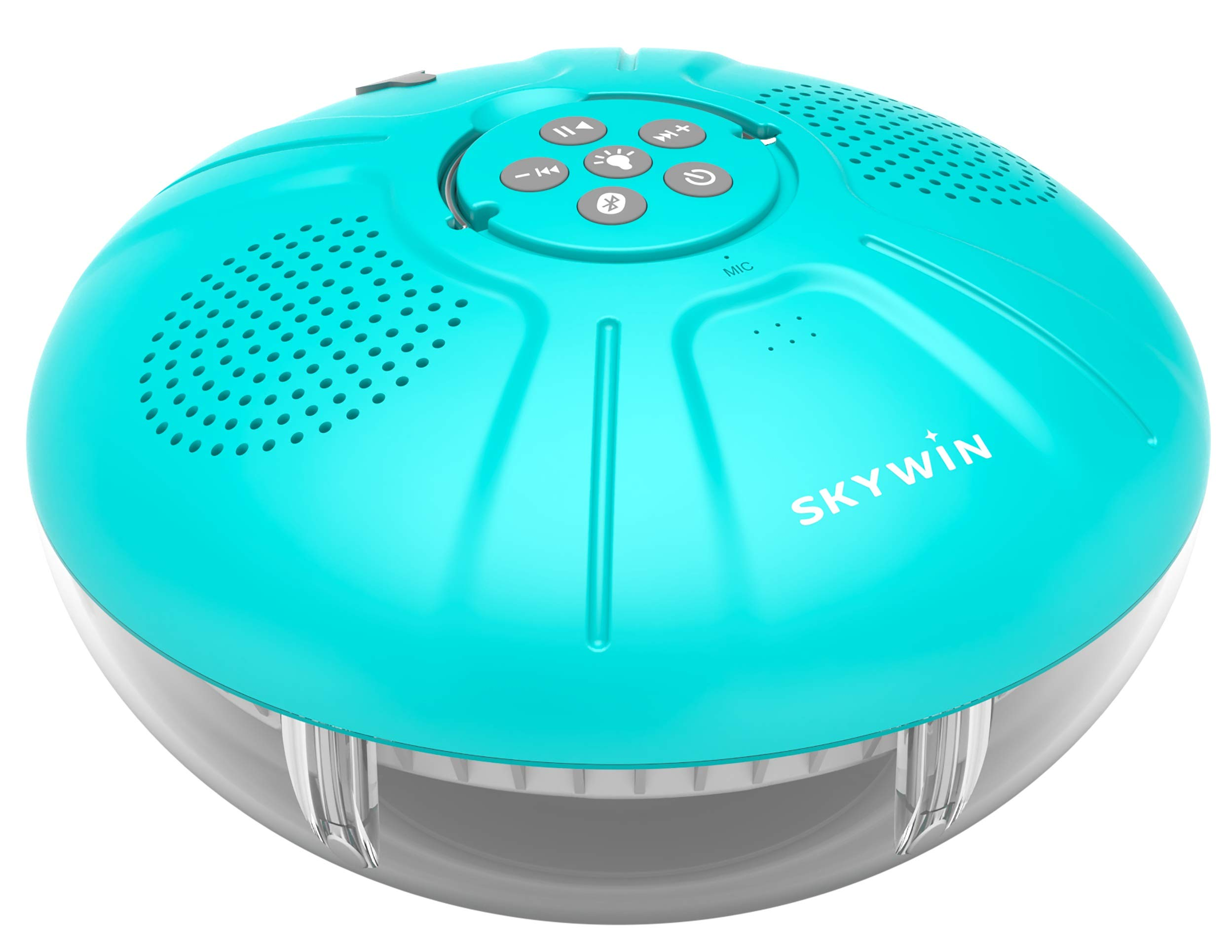 Skywin Hot Tub Speakers and Speakerphone - Disco Light Floating Waterproof IPX7 Large Wireless Pool and Shower Speaker - Pool Speakers Support Dual Speaker Connection and Feature Quality 2.1 Sound by Skywin