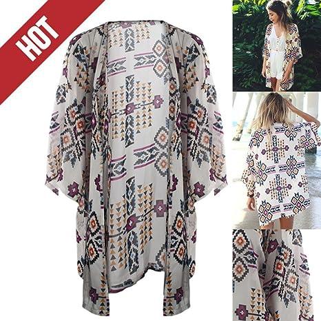 DEELIN Moda Mujer GeoméTrica Estampado ChifóN Chal Kimono Cardigan Tops Camisas Camisas: Amazon.es: Ropa y accesorios