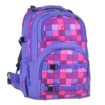 f9bb7e900e760 Take it Easy Schulrucksack Set lila pink kariert Rucksack Mädchen ab 4.  Klasse mit Blinkleuchte