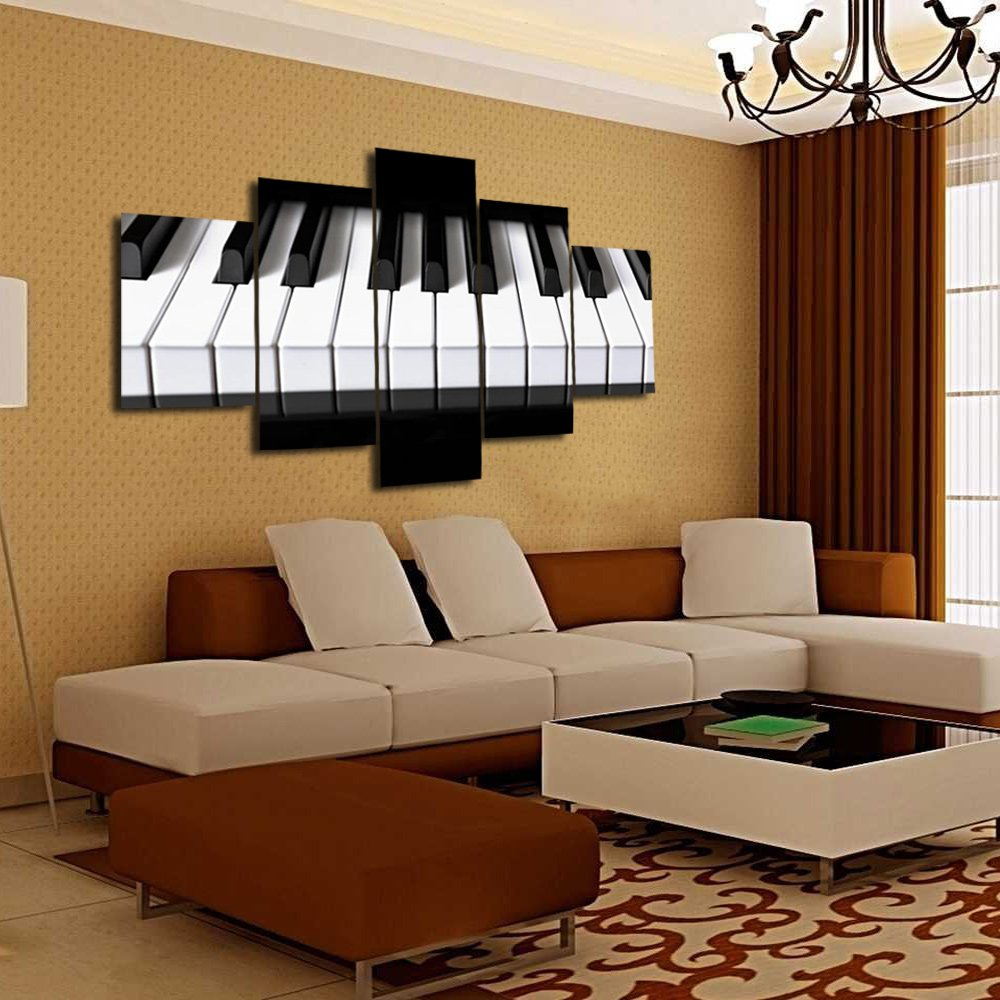 Natuki Canvas-Music-80-03 TUMOVO Graffiti Paintings Canvas Colorful Wall Art Living Room Wall Decor 5 Panel Pictures Music Collage on Brick Wall Home Decor Modern Artwork Posters Bad Prints Framed Ready to Hang 60Wx32H