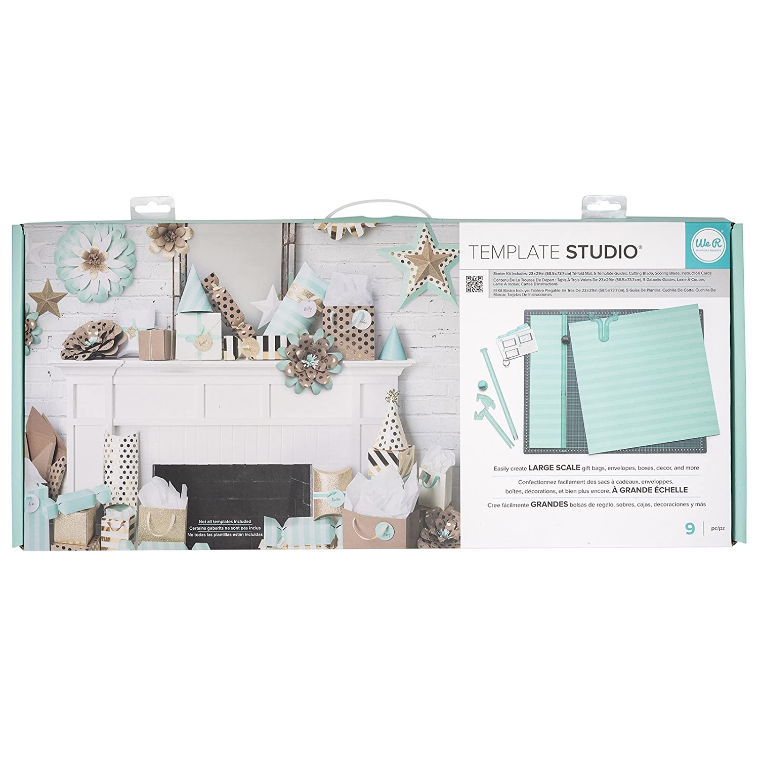 Template Studio Starter Kit by We R Memory Keepers | Includes 23 x 29-inch tri-fold mat, 5 template guides, cutting blade, scoring blade and ...