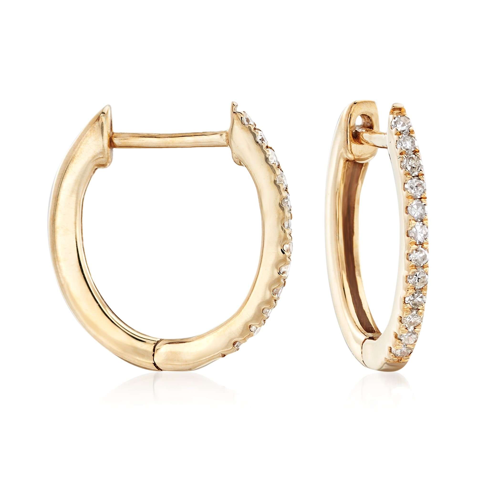 Ross-Simons 0.10 ct. t.w. Diamond Huggie Hoop Earrings in 14kt Yellow Gold by Ross-Simons