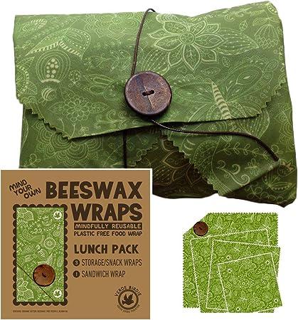 Beeswax Wraps - Pack de almuerzo para la escuela o la oficina, 1 pequeño, 1 mediano, 1