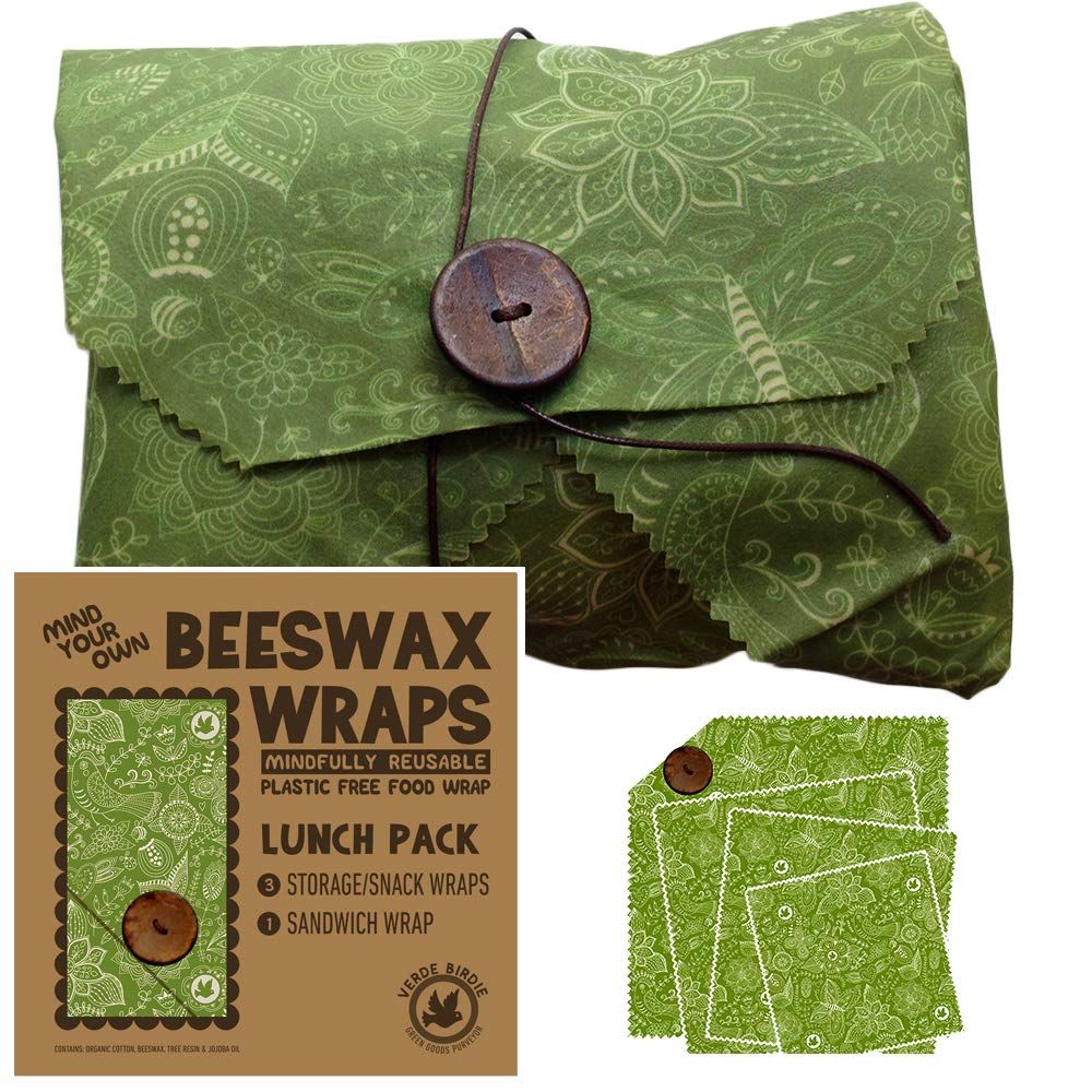 Beeswax Wraps Lunch Kit Food Storage Pack for School or Office - 1 Small, 1 Medium, 1 Large Plus 1 Sandwich for No Plastic Wrap or Bags Zero Waste Alternative - Reusable and Sustainable [4 Piece set]