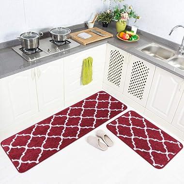 Carvapet 2 Pieces Microfiber Moroccan Trellis Non-Slip Soft Kitchen Mat Bath Rug Doormat Runner Carpet Set, 20 x63 +20 x31 , Red