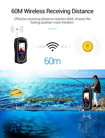 Eyoyo Portable Fish Finder 147 Feet 45M Water Depth Sonar Sensor Transducer, 2.4 Color LCD Screen Alarm Sounder Fishfinder with Fish Attractive Lamp for Ice Boat Fishing