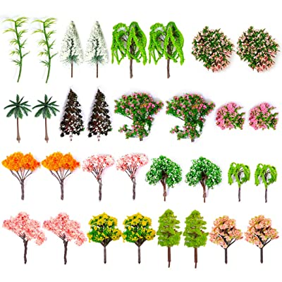 Lingxuinfo 16 Pcs Mixed Model Trees Model Train Scenery Model Railroad Scenery with No Stands Architecture Trees Fake Trees for Projects, DIY Scenery Landscape (Mix Color): Toys & Games