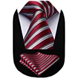 caja de regalo Modelos A Elegir un par de gemelos OCIA/® rayas para hombre corbata de seda Conjunto:corbata pa/ñuelo bolsillo cuadrado