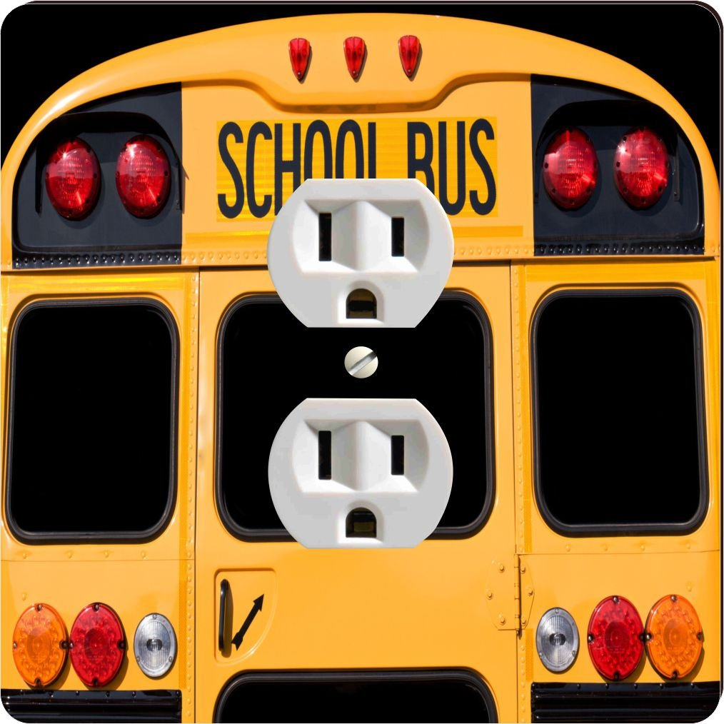 Rikki Knight 8879 Outlet Back of A Yellow School bus Design Outlet Plate