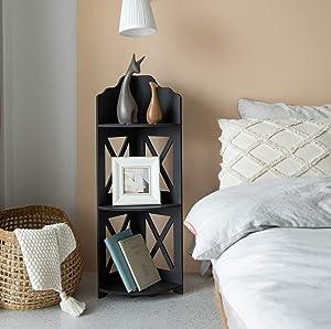 Plant Stand,Catty Corner Shelf Mini Bookshelf for Living Room,Narrow Side Table for Small Spaces, Puja Mandir for Home, Corner Shower Organizerfor Half Bath Storage,Black by TuoxinEM