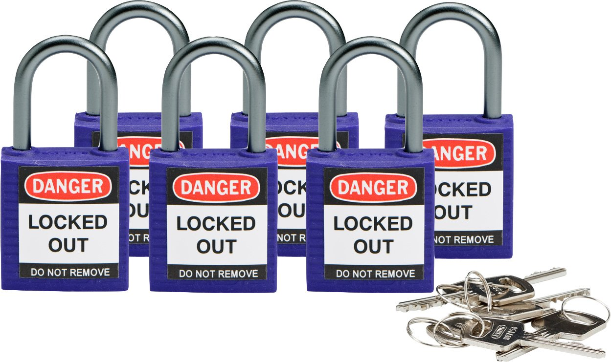 Brady 118933 Purple, Brady Compact Safety Lock - Keyed Different (6 Locks)