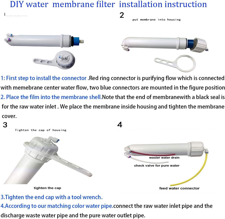 juego completo de llave para residencial hogar hospital sistema de filtraci/ón de agua HUINING Membrana Kit de /ósmosis inversa 50GPD-1812//2012 con 1//4 Quick Conector