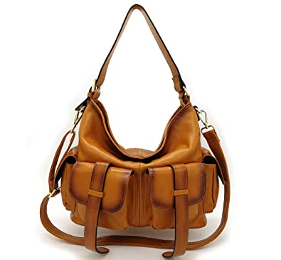 Image Unavailable. Image not available for. Color  La Poet Women s Genuine  Leather Large Convertible Crossbody Shoulder Hobo Bag ... 45430a4e0cc54
