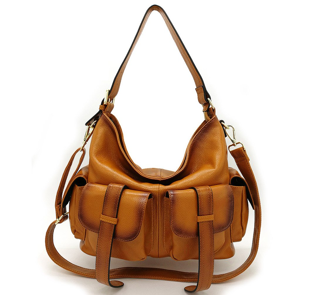 La Poet Women's Genuine Leather Convertible Crossbody Shoulder Hobo Bag with Long Strap