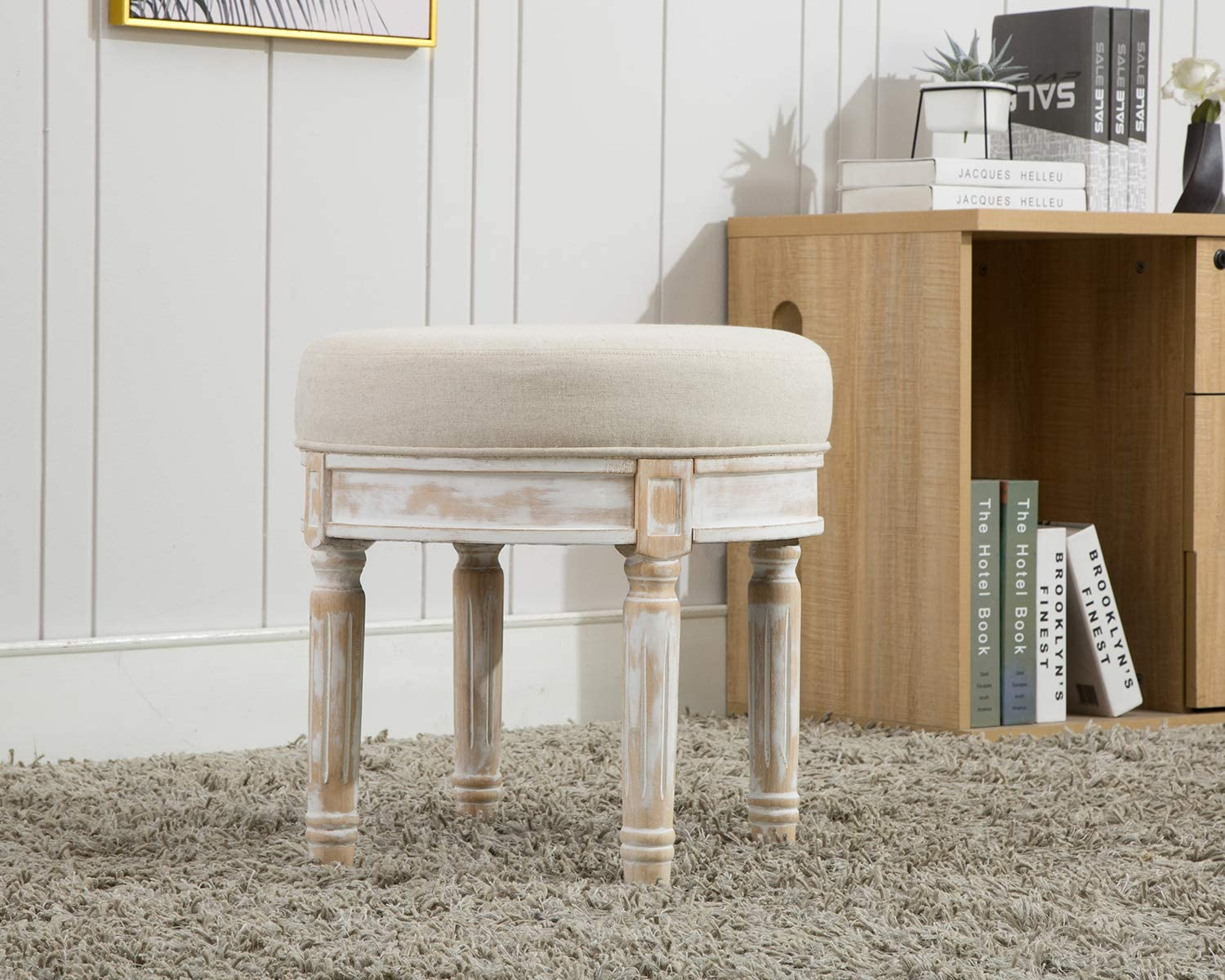 Kmax Small Round Rustic Entryway Ottoman Stool, Upholstered Vanity Stool for Bedroom, 18