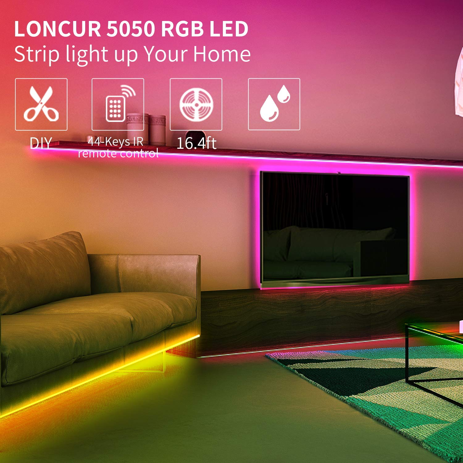 Loncur Waterproof LED Strip Lights, 16.4ft RGB SMD 5050 150LEDs,12V/2A DC, LED Rope Lighting 20 Colors Changing Full Kit with 44-Key IR Remote&Controller Box for Home Indoor& Outdoor Decoration