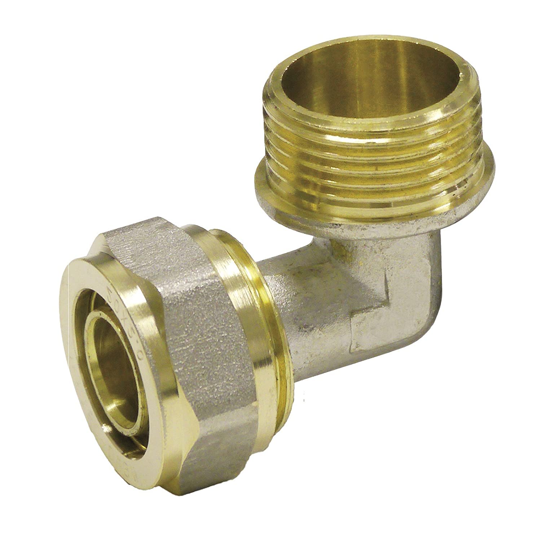 Pipetec Schraubfitting Winkel Übergang 16x2 mm 90° 1/2 Aussengewinde für Mehrschicht-Verbundrohr, DVGW, UBA-konform, bis max.100°C Stabilo-Sanitaer