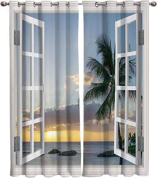 T&H Home Panel de cortina para dormitorio/sala de estar/puerta de patio – Cortinas tropicales, arte planta hojas ventana tratamiento Set para puerta corredera, aspecto semi tela Drapes, juego de 2 paneles,: Amazon.es: