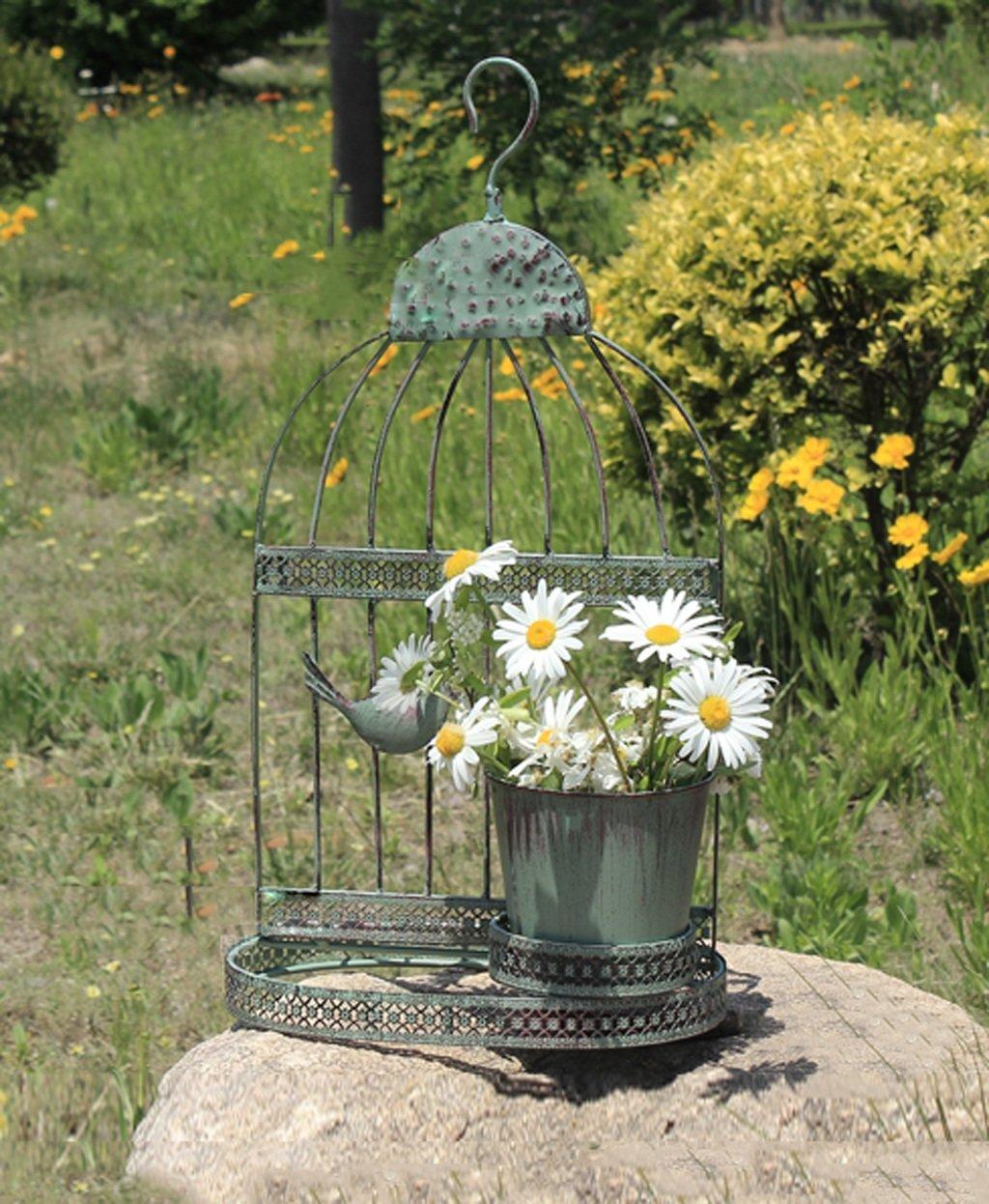 LB huajia ZHANWEI Vogel-Käfig-Blumen-Gestelle Europäische Art-Retro- Haus-Eisen-Wand-hängende Blumen-Zahnstangen-Fleisch-Pflanze-Blumen-Eimer-Dekoration-Dekoration