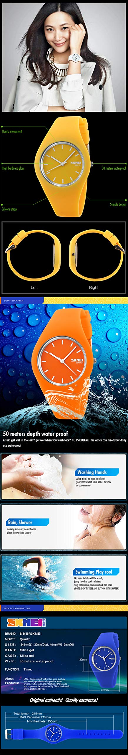 Skmei Fashion Trends Korean Version of The Silica Gel Quartz Ultra-Thin fine Gift Watches(12 Styles) (Rose red) by SKMEI (Image #3)