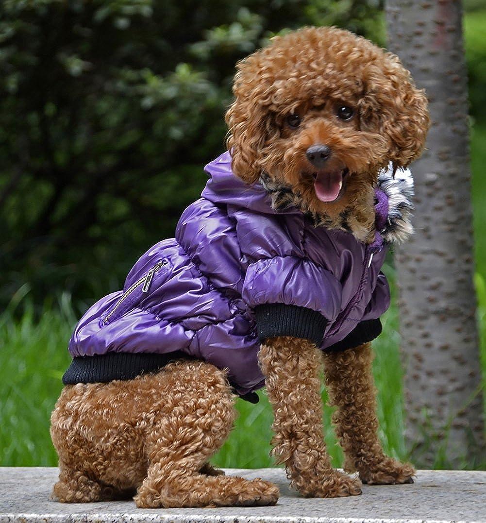 Abrigo para mascotas, engrosamiento de algodón con capucha forrada Abrigo fino a prueba de viento Abrigo de chaqueta fría Abrigo de invierno cálido para mascotas Ropa para perros pequeños Protector de pecho Deporte informal Dos