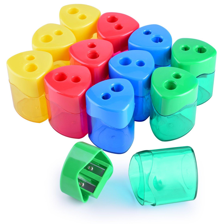 WXJ13 4 Farben Doppel Loch Manuelle Bleistift Spitzer mit Abdeckung für Büro und Schule, 12 Stück 12 Stück