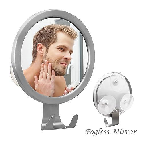 Elegear Anti-fog Mirror Shower Mirror with 3 Premium PVC Lock Suction Cups for Fog Free Shaving Wall- Mounted No Fog Bathroom Mirror Diameter 12.5cm*12.5cm