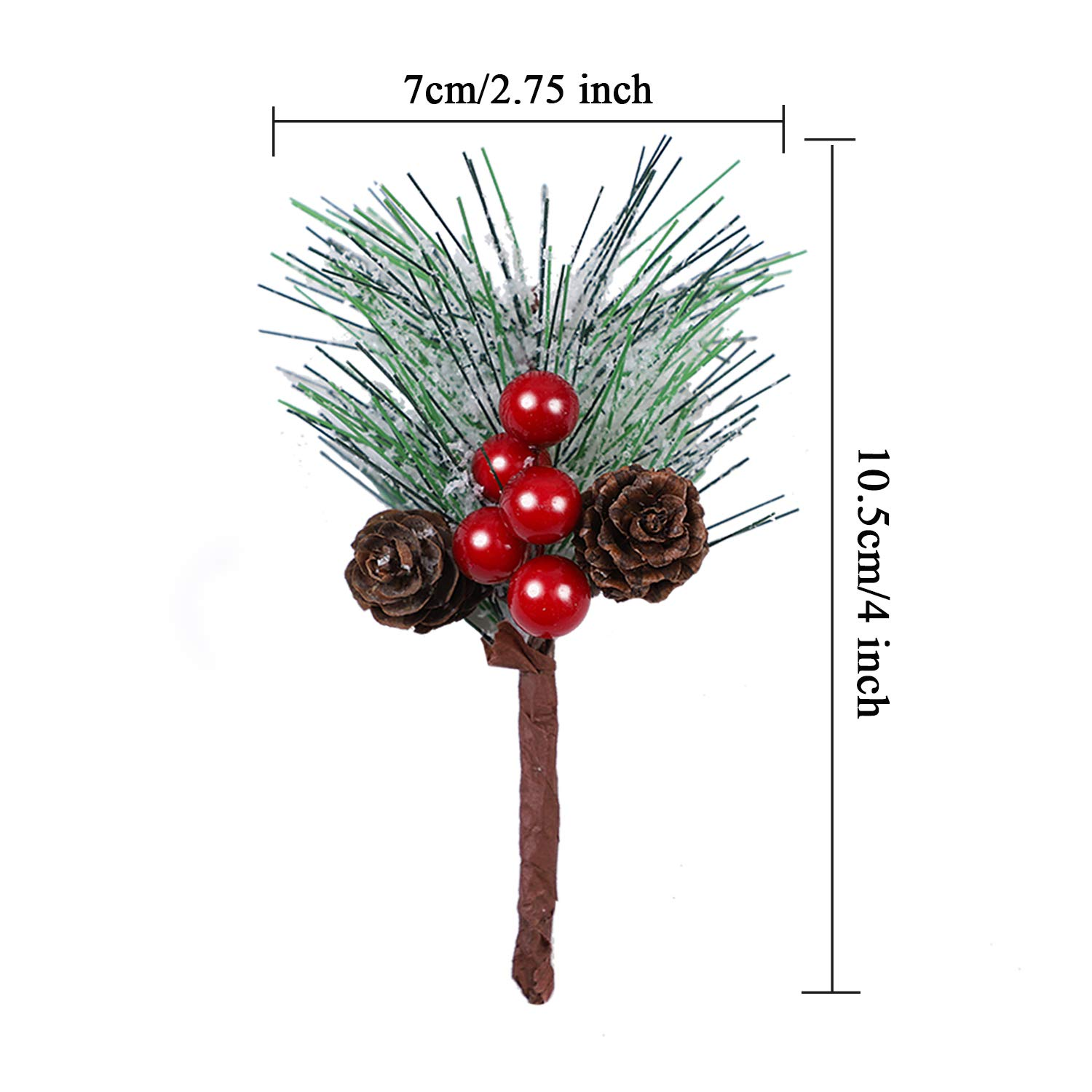 Color C URATOT 24 Pieces Artificial Pine Picks with Bell Mini Artificial Pine Tree Christmas Pine Branches for Christmas Party Flower Arrangements Wreaths and Holiday Decorations