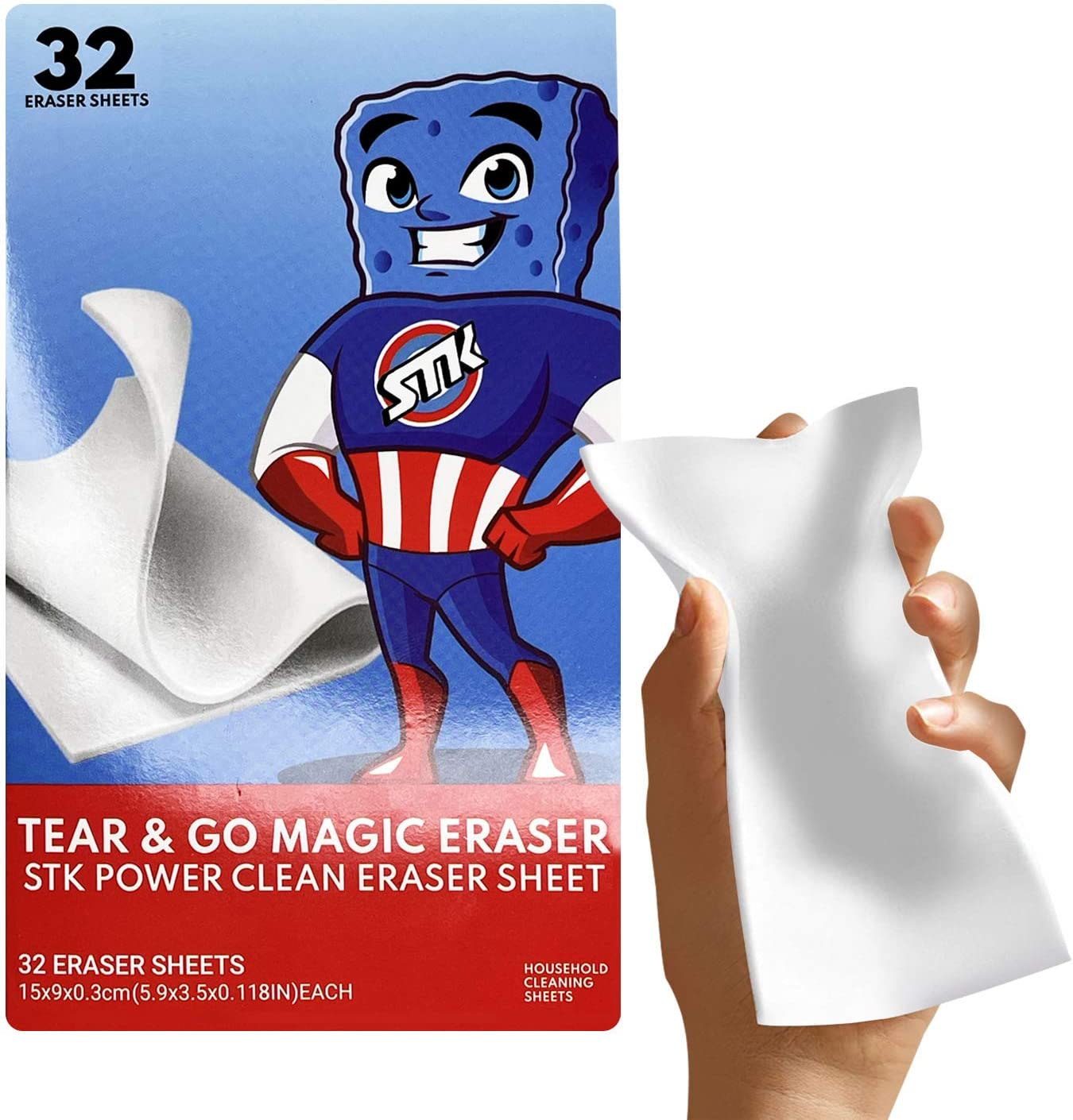 STK Magic Tear & Go Cleaning Sheets - 32 Tear Off Magic Cleaning Sheets for All Surfaces - Kitchen-Bathroom-Furniture-Leather-Car-Steel - Add Water to Erase All Dirt - Melamine - Universal Cleaner