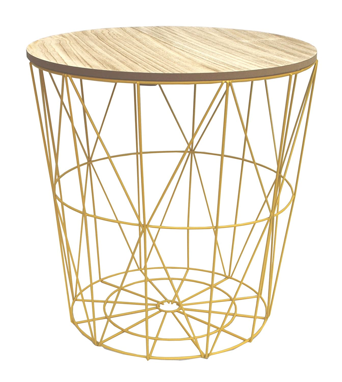 Gelb Metall Draht klein Nachttisch, gelegentlichen, Lampe Tisch mit ...