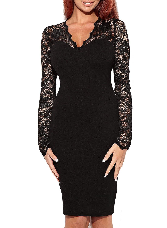 Amazon.com  Miusol Women s Vintage Floral Lace Long Sleeves Bridesmaid Midi  Dress  Clothing e69b1184ef