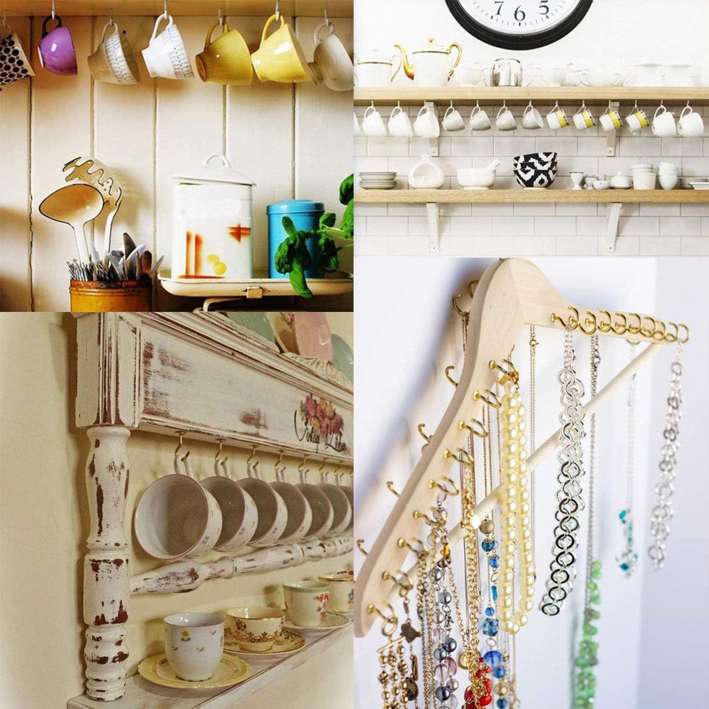 Argent et Or 100 Pi/èces Crochets de Plafond /à Visser M/étal Mug Tasse Crochets pour Plante Et Autres Objets de D/écoration Int/érieurs et Ext/érieurs