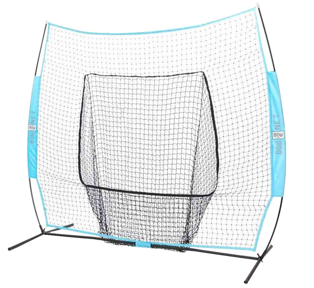 Bownet Big Mouth Colors 7' x 7' Portable Training Net with Frame, Columbia Blue