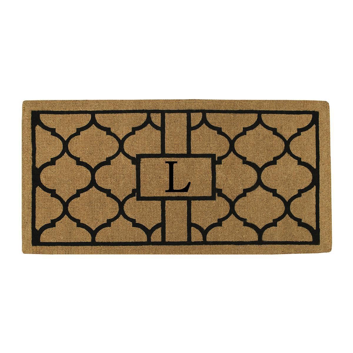 Home & More 180083672L Pantera Extra-thick Doormat, 36'' x 72'' x 1.50'', Monogrammed Letter L, Natural/Black