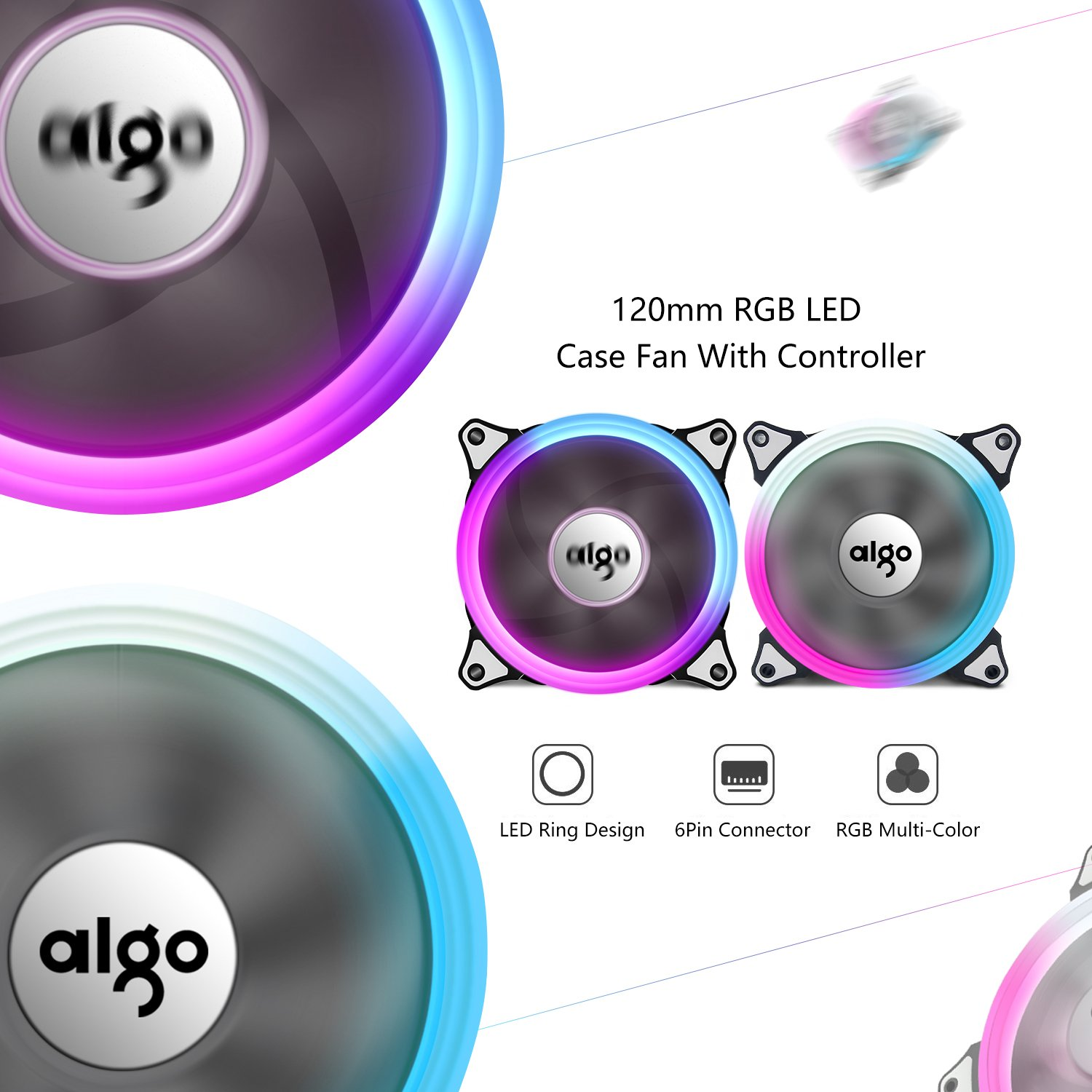 Aigo Aurora C3 Kit 3 Pack Rgb Case Fan Led 120mm Speed Installing Electric On A Controllable High Performance Airflow Adjustable Color Pc Cpu Computer Cooling