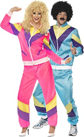 Ladies 1980s 80s Black Retro Shell Suit Hen Do Night Fancy Dress Costume Outfit