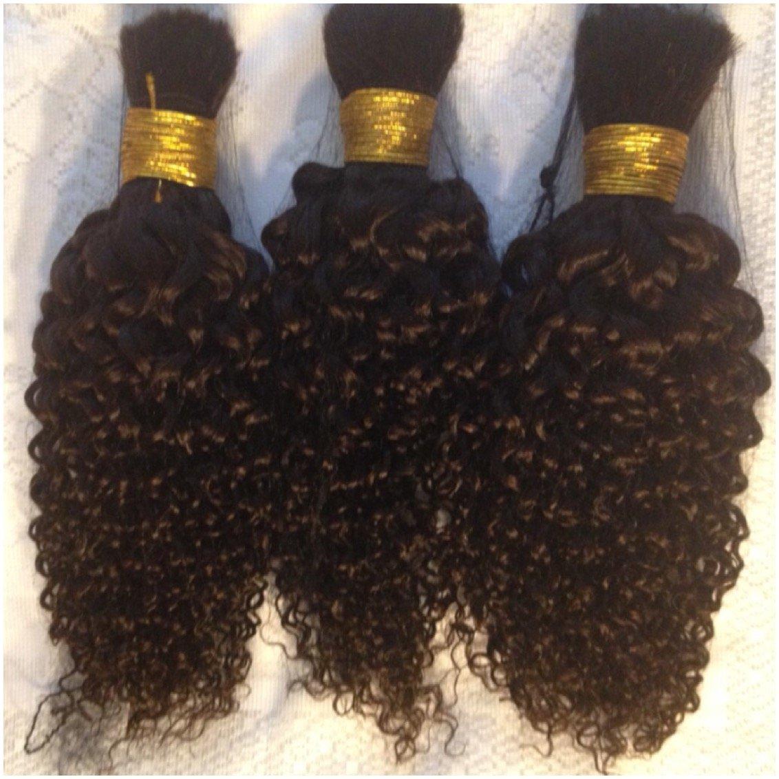 "Kinky Curly 100% Human Brazilian Bulk Hair For Tree Braids, Brazilian Knots, Braiding, Etc. 14"" Dark Brown/2 Darker Shade Than Color 4 Dyeable 3 BUNDLES"