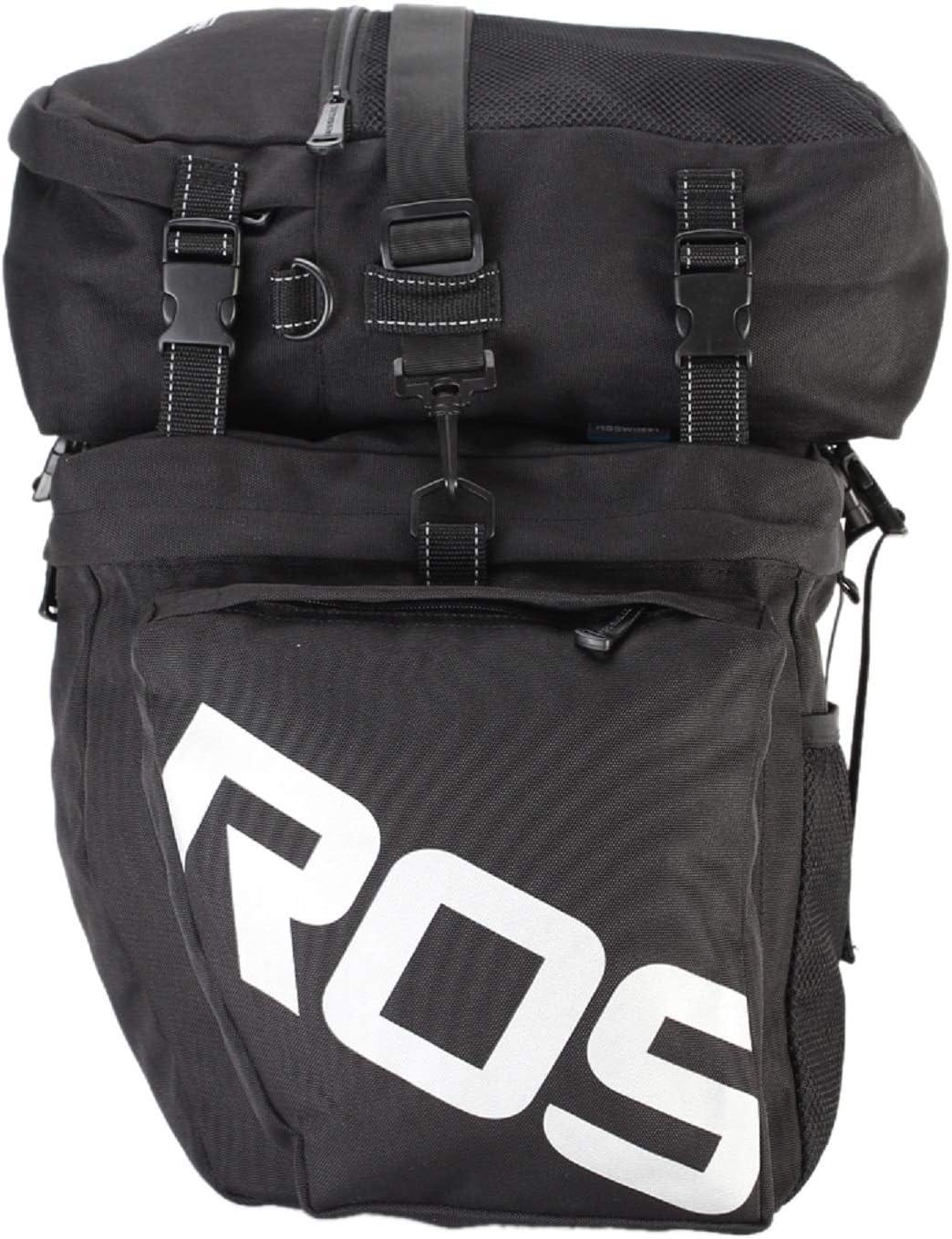 3-in-1 Waterproof Bicycle Cycling Pannier Bag Gear Pack Black