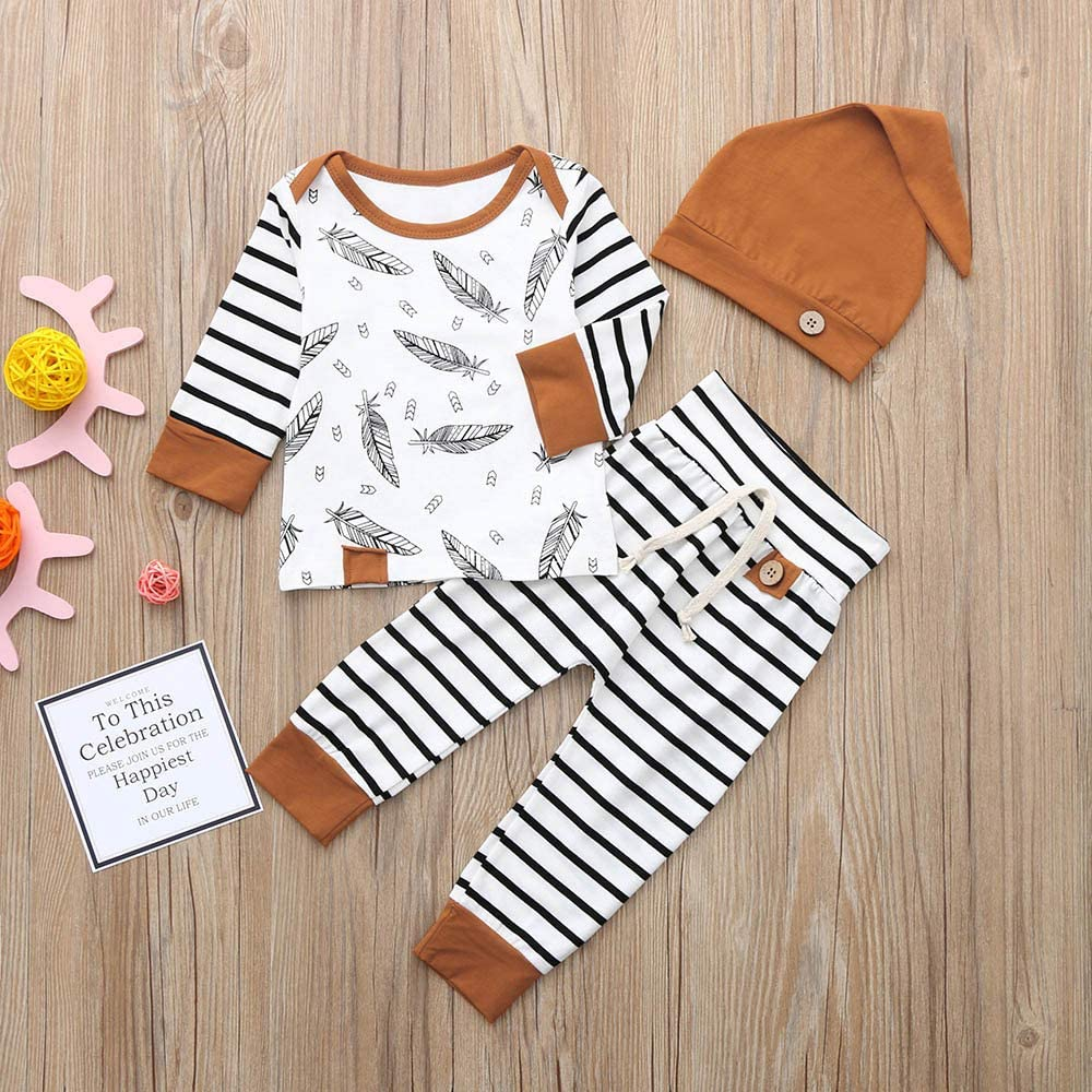 WOCACHI Toddler Baby Boys Clothes Newborn Baby Boy Girl Feather T Shirt Tops Striped Pants Clothes Outfits Set