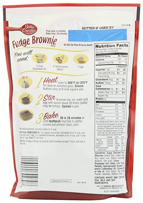 Amazon Betty Crocker Fudge Brownie Mix 1025 Ounce Pouches