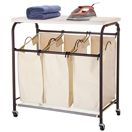 Great Ollieroo Classic Rolling Laundry Sorter Cart Heavy Duty 3 Bags Laundry  Hamper Sorter With Ironing Board