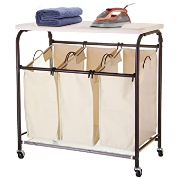 Ollieroo Classic Rolling Laundry Sorter Cart Heavy Duty 3 Bags Laundry  Hamper Sorter With Ironing Board