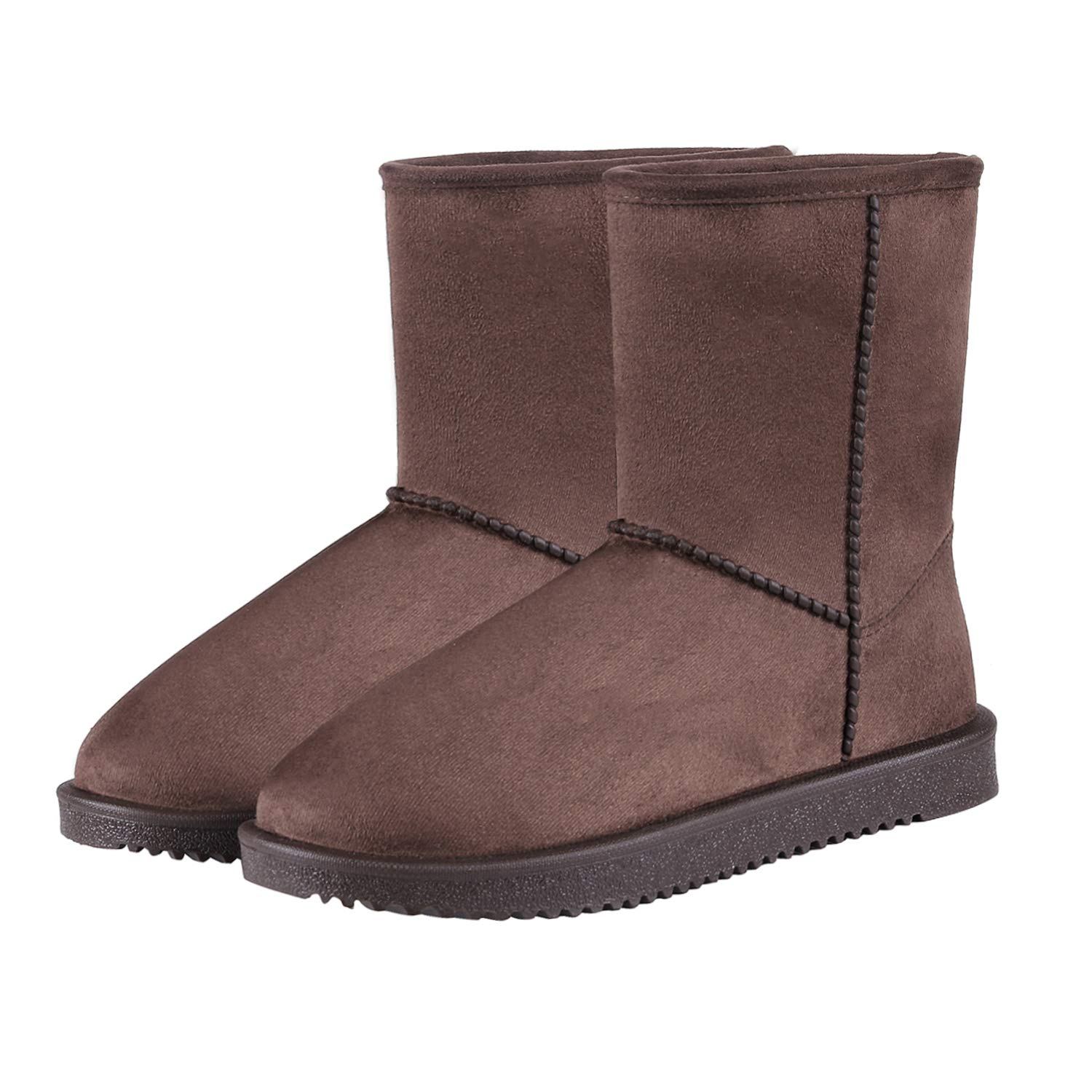 Brown Mid-calf Women's Mid Calf Snow Boots Waterproof Classic Fur Lined Shearling Winter Boots