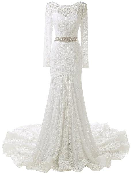 Solovedress Vestido de novia de encaje de manga larga para mujer, sirena, vestido de