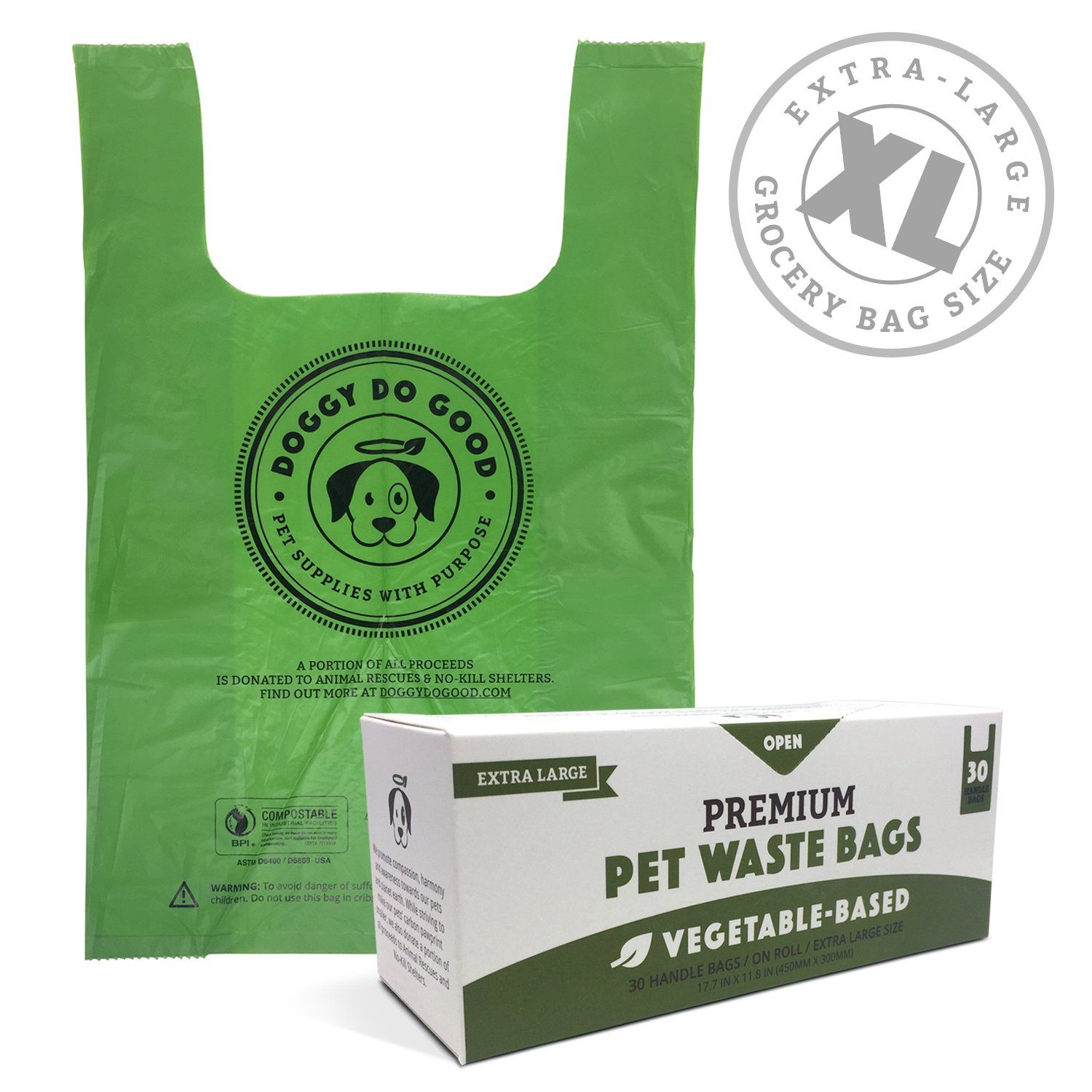 Biodegradable Poop Bags | XL Cat Litter/X-Large Dog Waste Bags, Vegetable-Based & Eco-Friendly, Premium Thickness & Leak Proof, Easy-Tie Handles, Supports Rescues