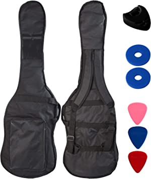 YMC 46-Inch Waterproof Dual Adjustable Shoulder Strap Electric Bass Guitar Gig Bag 5mm Padding Backpack with Accessories(Picks, Pick holder, Strap Lock) -For 43
