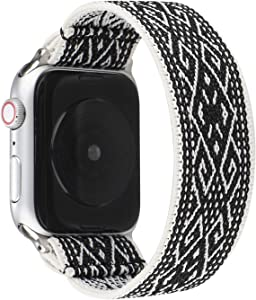 JimBird Stretchy Elastic Sport Loop Strap Compatible for Apple Watch Band 42mm 44mm iWatch Series 6/SE/5/4/3/2/1 Stretch Elastic Wristband (Stripe, 42/44mm for Small Wrist)